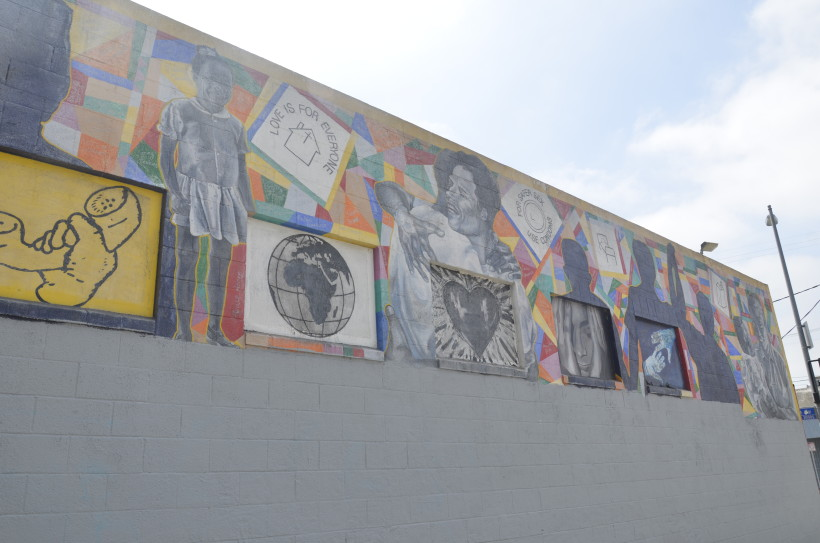 Assessment of mural before restoration