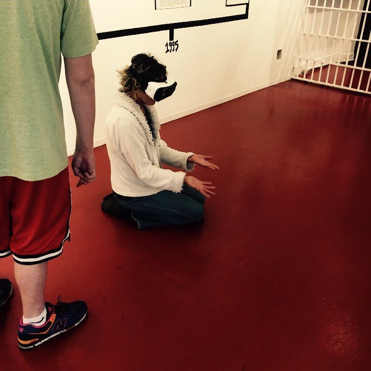 An emotional moment for a VIRAL visitor, a mother, during the virtual reality experience.