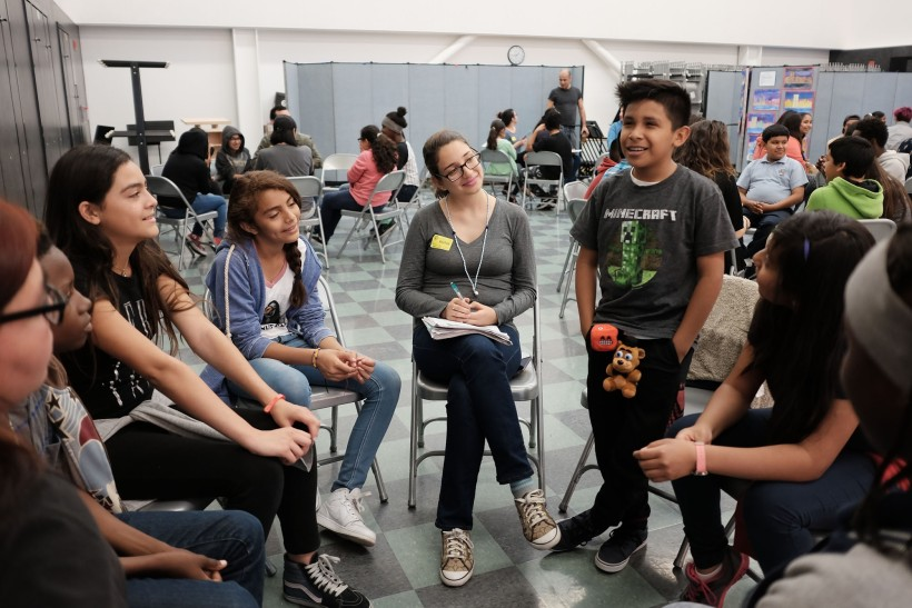 JB Arts Students and UCLA Mentors during a workshop activity.