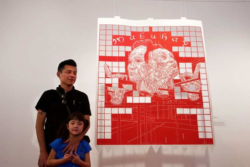 "Pavel and daughter with his piece, ""Mabuhay"""