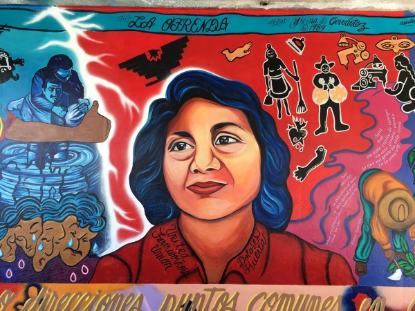 Close-up of Dolores Huerta in restored mural.