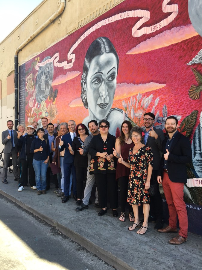 Artist, Alfredo de Batuc, along with SPARC Founder, Judy Baca and the SPARC team join Councilmember Mitch O'Farrell and his team in front of the fully restored Dolores Del Río mural!