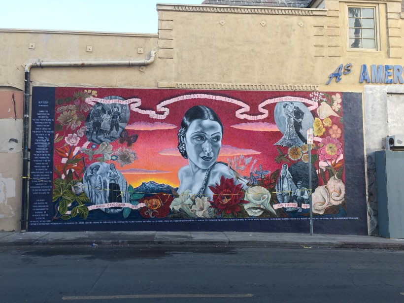 Dolores Del Río mural RESTORED by Alfredo de Batuc and SPARC's CityWide Mural Team!