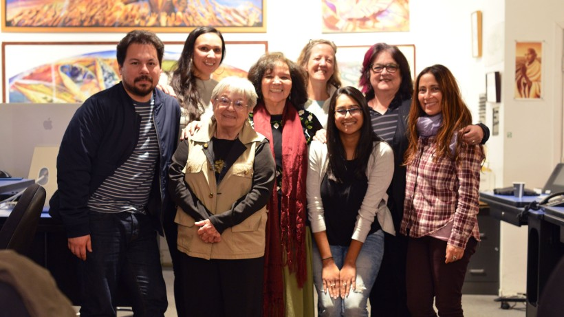 (Left to right) SPARC Project Manager Carlos Rogel, Rayven Armijo, Kay Brown, Martha Ramirez-Oropeza, Mary-Linn Hughes, SPARC Arts Education Coordinator Davida Persaud, SPARC Founder/Artistic Director Judy Baca, and Jacqueline Fuentes. (Not photographed: Silvia Rodriguez)